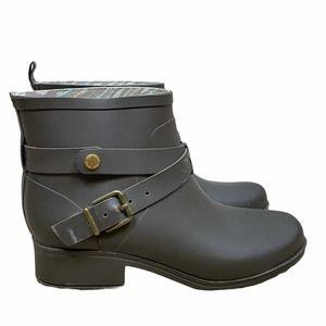Lucky Brand Grey Rubber Buckle Rain Boots